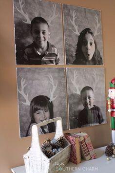 Super Easy Kid Portraits on Canvas using mod podge and Christmas Reindeer Antler stencils  via simplesoutherncharmblog