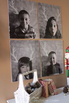 Super Easy Kid Portraits on Canvas using mod podge and Christmas Reindeer Antler stencils  via simplesoutherncharmblog