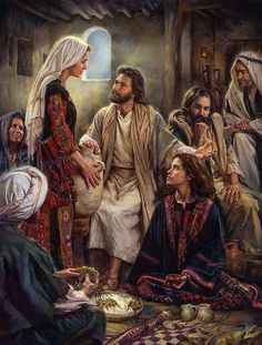Jesus often visited the home of Mary, Martha and Lazarus. Martha was a good hostess and was busy making the best meal for Jesus. But Mary wanted to stay with Jesus, soaking in His words. Mary chose the best part. Pictures Of Christ, Bible Pictures, Religious Pictures, Lds Art, Bible Art, Image Jesus, Mary And Martha, Biblical Art, Catholic Saints