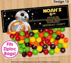 BB8 Bag Topper, PRINTABLE BB8 Party Topper, Star Wars Treat Bag Topper, Force Awakens Birthday Party Favors, Star Wars Favor Bags Toppers