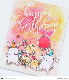 Hi everyone! Today I want to share my card for  Mama Elephant  Stamp Highlight featuring Party Animals  stamp set. This set is one of my f...