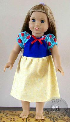 Snow White doll dress #MyKidsDrawers https://www.facebook.com/pages/My-Kids-Drawers/223718661039360 https://www.etsy.com/shop/mykidsdrawers