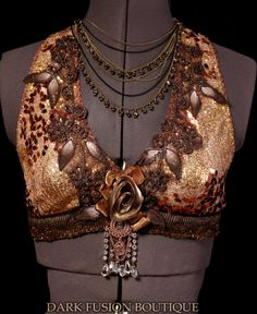 Halter  D Cup  Golden Copper Peach and Brown by darkfusionboutique, $90.00