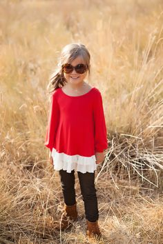 Ryleigh Rue Clothing by MVB - Girls Double Ruffle Hem Tunic Red, $24.00 (http://www.ryleighrueclothing.com/new/girls-double-ruffle-hem-tunic-red.html/)