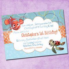 birthday ideas: Finding Nemo Birthday Invitation by FreshInkStationery on Etsy. Birthday Invitation Templates, Birthday Party Invitations, First Birthday Parties, First Birthdays, 3rd Birthday, Finding Nemo, Birthday Photos, Birthday Ideas, Etsy