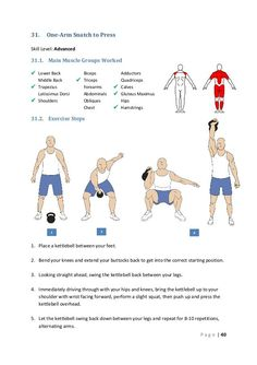 31. One-Arm Snatch to Press Skill Level: Advanced 31.1. Main Muscle Groups Worked  Lower Back Middle Back  Trapezius ...