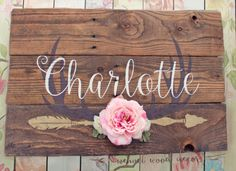 Rustic Large Nursery Baby Name Arrow and Antlers personalized reclaimed pallet wood sign little girl room boho flowers hand painted sign