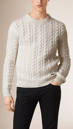 Natural Cable Knit Wool Cashmere Sweater - Image 1