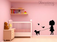 Little Sophie and her puppy are looking for playmates... (Large wall decals for kids' rooms). $39.99, via Etsy.