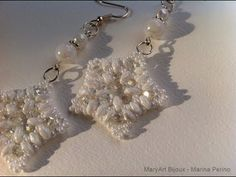 Tutorial beads: white star of snow with superduo beads - YouTube