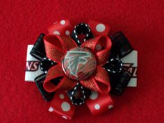 NFL Atlanta Falcons Hair bow clip barrette red black