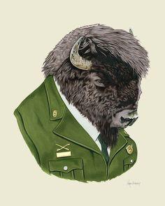 Bison art print by Ryan Berkley 8x10 by berkleyillustration, $18.00