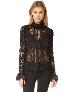 Anna Sui | Black Magical Mystery Lace Top | Lyst