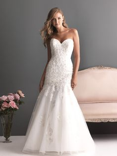 Gorgeous Wedding Gowns With Sweetheart Tops By Allure Bridals - Weddingomania Wedding Dresses Photos, Wedding Bridesmaid Dresses, Bridal Wedding Dresses, Wedding Dress Styles, Wedding Attire, Bridal Style, Wedding Bells, Lace Wedding, Allure Bridesmaid