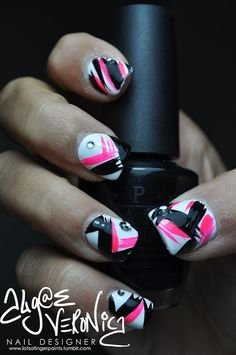 pink black and white nail polish design