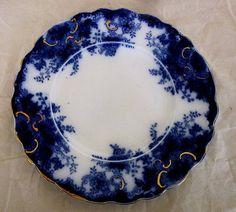 19th C English Flow Blue Plate Till Sons | eBay My pattern for dinner service...called Navy..actually produced by T. TILL & SONS..small floral pattern with gilt edge..c 1891 - English