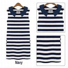 2014 Clothing Women Fashion Denim Sailor Collar Sleeveless Casual Striped Jeans Dress Ladies Free Shipping LQ9264