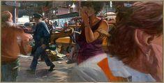 City Crowd–Cop and Ear  Artist:A. Robert Birmelin (American, born 1933) Date:1980 Medium:Acrylic on canvas Dimensions:48 x 96 in. (121.9 x 243.8 cm.) Classification:Paintings