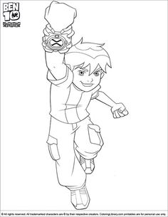Ben 10 coloring page Ben is jumping with joy