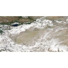 Dust and clouds hovered over the Taklimakan Desert Canvas Art - Stocktrek Images (38 x 20)