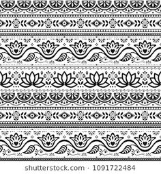 Pakistani truck art vector seamless pattern, Indian truck floral black and white design with lotus flower, leaves and abstract shapes. Monochrome repetitive background inspired by traditional lorry Mandala Doodle, Mandala Art Lesson, Mandala Drawing, Mandala Symbols, Border Pattern, Border Design, Pattern Art, Mandala Pattern, Zentangle Patterns