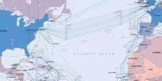 Global Maps Showing the Undersea Fiber Optic Cables That Power of the World's Internet Traffic Submarine Cable, Global Map, Fiber Optic Cable, Physical Geography, Ends Of The Earth, Cable Wire, Beautiful Mind, Cartography, Educational Technology