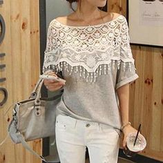 Buy 'Persephone – Lace Yoke Elbow-Sleeve Top' with Free International Shipping at YesStyle.com. Browse and shop for thousands of Asian fashion items from China and more!