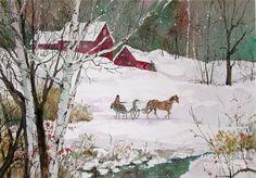 Winter Journey by Sherri Crabtree ~ watercolor horse-drawn sleigh