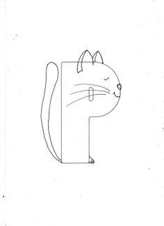 Ilustratii alfabet - schita P pisica
