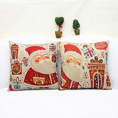 Yunko 2PCS Merry Christmas Series Cotton Linen Square Pillowcase Decorative Cushion Throw Pillow Covers 18 X 18 Inch >>> Details can be found by clicking on the image.