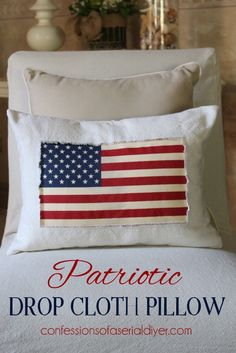 Simple patriotic drop cloth pillow - @michaelsstores - you will love this one!