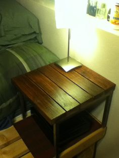 add stained 2x4s to top of Lack table- IKEA Hackers