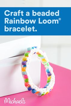 Use assorted Perler® beads to make a bright and fun Rainbow Loom® bracelet. Fun Crafts For Teens, Summer Crafts, Cute Crafts, Yarn Crafts, Bead Crafts, Jewelry Crafts, Diy Friendship Bracelets Patterns, Diy Bracelets Easy, Bracelet Crafts