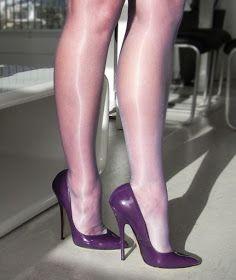 The pleasure of high Heels: Purple pumps and purple shiny pantyhose Sexy Legs And Heels, Hot Heels, Sexy High Heels, High Heels Stilettos, Stiletto Heels, Pantyhose Heels, Stockings Heels, Stockings Lingerie, High Heels
