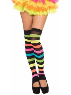 The Club Candy Rainbow Thigh Highs are the perfect accessory for a variety of fun and sexy costumes for Halloween or the club. Black and rainbow striped footless thigh highs. Halloween Club, Halloween Socks, Halloween Leggings, Halloween 2014, Halloween Costumes, Thigh High Leg Warmers, Striped Stockings, Fall Handbags, Costume Collection