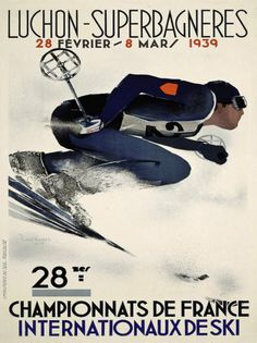 Cool Vintage Ski Poster Print from France by Watcher1999, via Flickr