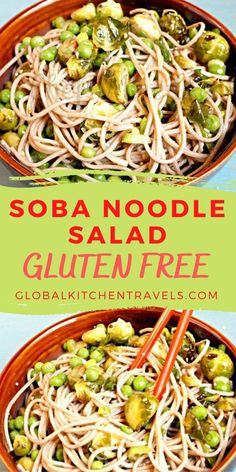 Soba Noodle Salad with brussel sprouts and green peas is a healthy Japanese Salad. This chilled salad is great for summer picnics or as a barbecue side dish Side Dishes    Picnic Recipes    Healthy Recipes    Noodle Salad    Gluten Free Soba Noodles, Pasta Noodles, Healthy Picnic Foods, Healthy Recipes, Japanese Salad, Barbecue Side Dishes, Buckwheat Noodles, Noodle Salad, How To Make Salad