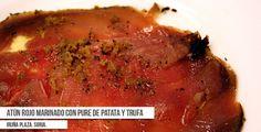 Propuesta de plato para La Ruta Dorada de la Trufa en Soria, del Bar-Restaurante Iruña Plaza: Atún rojo marinado con puré de patatas y trufa.