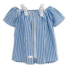Make the choice for your little girl by choosing this with for Place your order and this to your little Trendy Fashion, Girl Fashion, Fashion Dresses, Made Clothing, Little Doll, Love Blue, Blue Blouse, Blue Tops, Blue Stripes