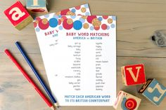 Test your knowledge of American and British baby words with this fun baby shower matching game! Perfect for an English tea party baby shower. Tea Party Baby Shower, Fun Baby Shower Games, Baby Shower Bingo, Baby Shower Activities, Baby Shower Balloons, Baby Shower Printables, Baby Shower Gifts, Baby Games, Free Printables