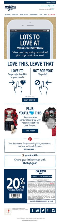 OshKosh B'Gosh makes engaging with their brand easy with clear visual instructions and savings coupons.