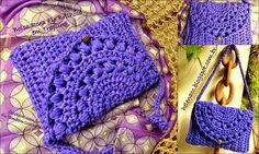 Crochet y dos agujas: Cartera tejida en totora / trapillo