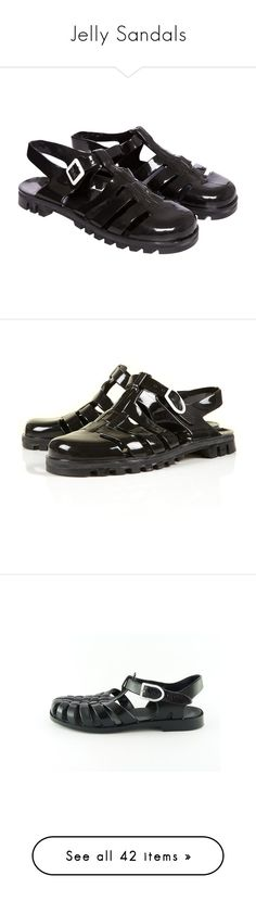 """""""Jelly Sandals"""" by paisliey ❤ liked on Polyvore featuring shoes, sandals, black, footwear, flats, jelly flats, black sandals, flat shoes, strap sandals and strappy flats"""