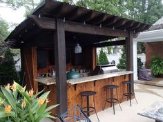 New Backyard Gazebo Bar Outdoor Kitchens Ideas gazebos New Backyard Gazebo Bar Outdoor Kitchens Ideas Outdoor Tiki Bar, Outdoor Kitchen Bars, Backyard Kitchen, Outdoor Kitchen Design, Outdoor Bars, Outdoor Garden Bar, Outdoor Bar And Grill, Simple Outdoor Kitchen, Rustic Outdoor Kitchens