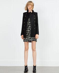 PRINTED DRESS (black white floral short sleeve 4043/262) $49.90   Zara