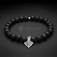 Mens Bracelet , Stretchy bracelet for men , Arrow Bracelet , 8 mm Black Lava Stone and 925 Sterling Silver Arrow , Black bracelet , Gift by JUNIPERANDELOISE on Etsy $29