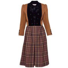 1980s YVES SAINT LAURENT Rive Gauche Tartan and Velvet Brown Suit Skirt For Sale