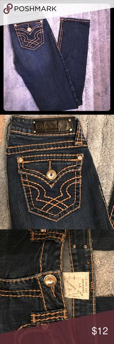 """L.A. Idol USA jeans size 9 L.A. Idol USA jeans size 9. Stitching and bling intact (except """"USA tag on logo. Does not detract from jeans. See photo) Perfect with some heels to dress up! Great used condition.  Smoke free home.  Offers welcomed! L.A. Idol USA Jeans Skinny"""