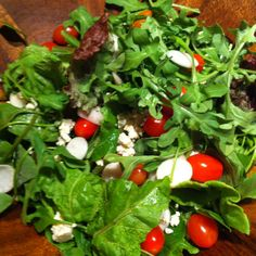 Holbrook Farm Organic Greens, Hakurei Turnips, Organic Tomatoes, Spanish Moscatel Vinegar, Spanish Orhanic EVO , Sea Salt, & Fresh Ground Pepper