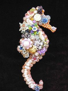 Vintage Jewelry Crafts Vintage Jewelry Seahorse Collage Sculpture by ArtCreationsByCJ - Costume Jewelry Crafts, Vintage Jewelry Crafts, Antique Jewelry, Vintage Jewellery, Jewellery Shops, Silver Jewellery, Recycled Jewelry, Craft Jewelry, Diamond Jewellery